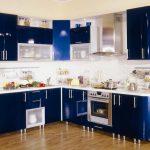 угловая кухня темно синяя