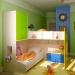 расставить мебель для двоих детей в детской небольших размеров