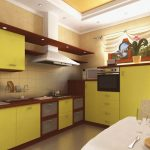 угловой шкаф на кухне салатовый