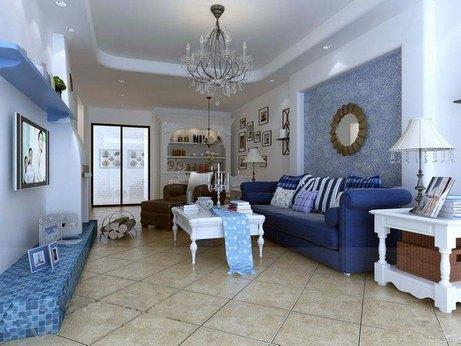 синий диван в интерьере комнаты