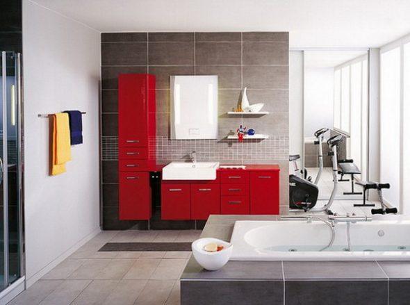 тумба для ванной красная