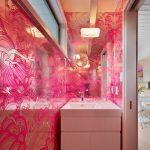 тумбочка под раковину розового цвета