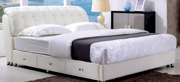 Двуспальная кровать с ящиками белая