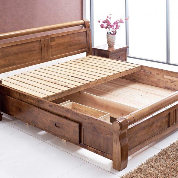 Двуспальные кровати из массива дерева — красивые и функциональные