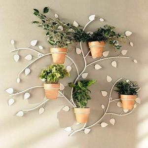Комбинированные полки для цветов из дерева и металла