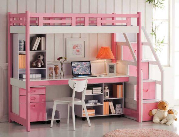 кровать чердак розовая