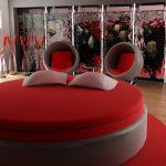 Круглая кровать без изголовья красного цвета