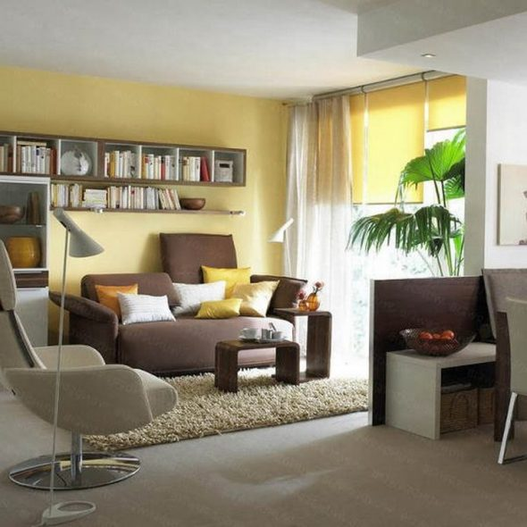 Над диваном можно повесить полки для хранения дополнительных мелочей