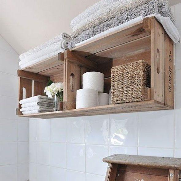 Полочки для ванной с ящиков
