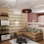 Зонирование однокомнатной квартиры цветом