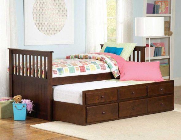 детская выдвижная кровать с ящиками для хранения фото