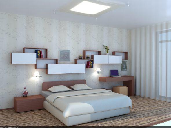 дизайн полок над кроватью