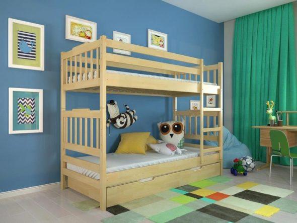 двухъярусная детская кровать из дерева икеа