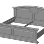 двуспальная кровать из массива дерева серого цвета