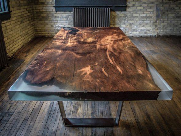 идеи создания невероятной мебели из эпоксидной смолы и дерева