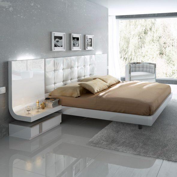 кровать белоснежная с подсветкой