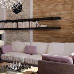 навесные полки в оформлении стены над диваном