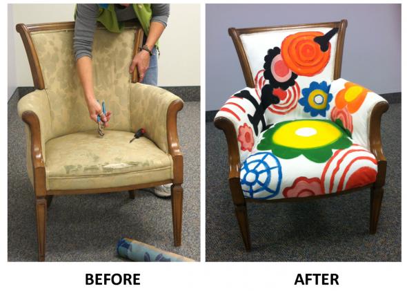 новая яркая ткань для стула