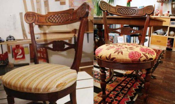 перетяжка стульев своими руками-до и после