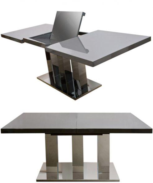 раздвижной обеденный стол трансформер из металла и дерева