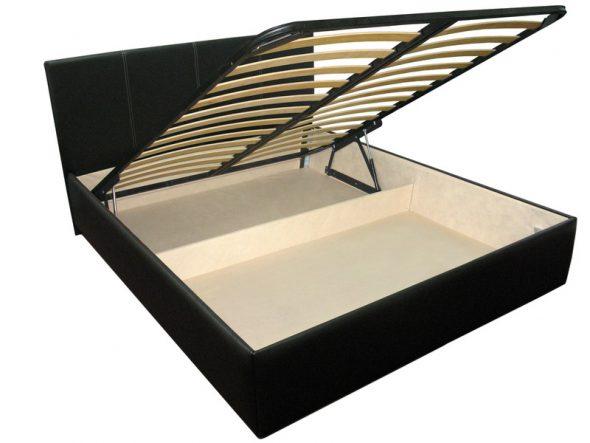 Черная кровать с подъемным механизмом
