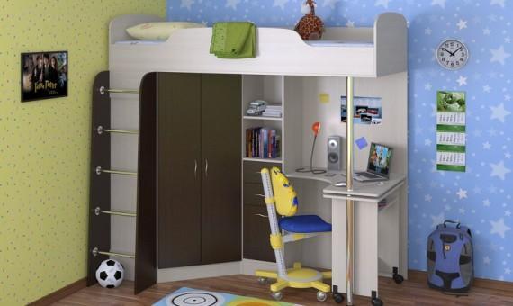 Детская кровать-чердак Теремок-1, дуб молочный