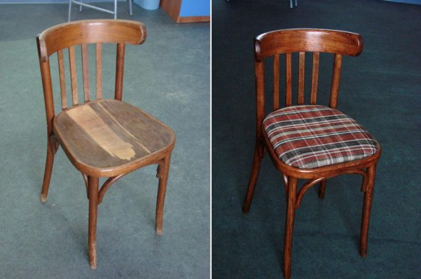 До и после реставрации стула