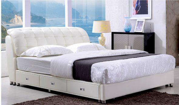 Кожаная кровать с ящиками для хранения вещей