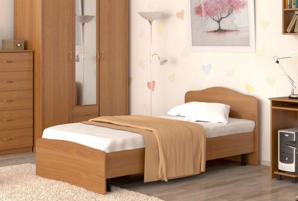 Кровать односпальная 90х200 см Фея + металл. основание