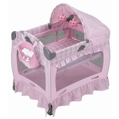 Манеж-кровать розовая