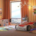 Белая машина-кровать в интерьере