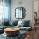 Бирюзовые и черные орнаменты в текстиле и интерьере