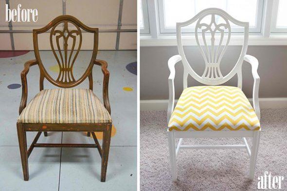 деревянный стул до и после переделки
