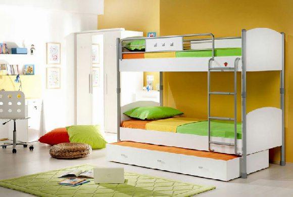 детская белая двухъярусная кровать