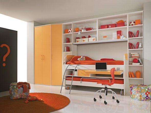 Дизайн маленькой детской комнаты с встроенной мебелью-трансформер