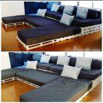 Двухуровневый диван из поддонов для большой семьи