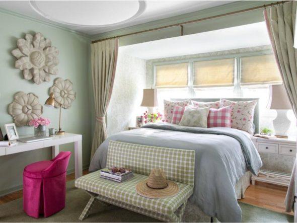 Комната для девочки в зелено-розовой цветовой гамме