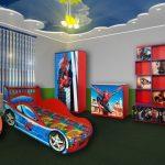 """Комната для подростка с кроватью-машиной в стиле """"Человек-паук"""""""