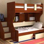 Красивая и функциональная кровать-чердак с дополнительными ящиками и спальным местом