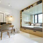 Красивая мебель, встроенная в нишу