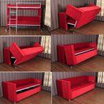Красная двухъярусная кровать-диван