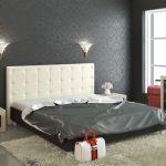 Кровать из эко кожи с мягкой спинкой