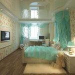 Мятная пастель в интерьере спальни