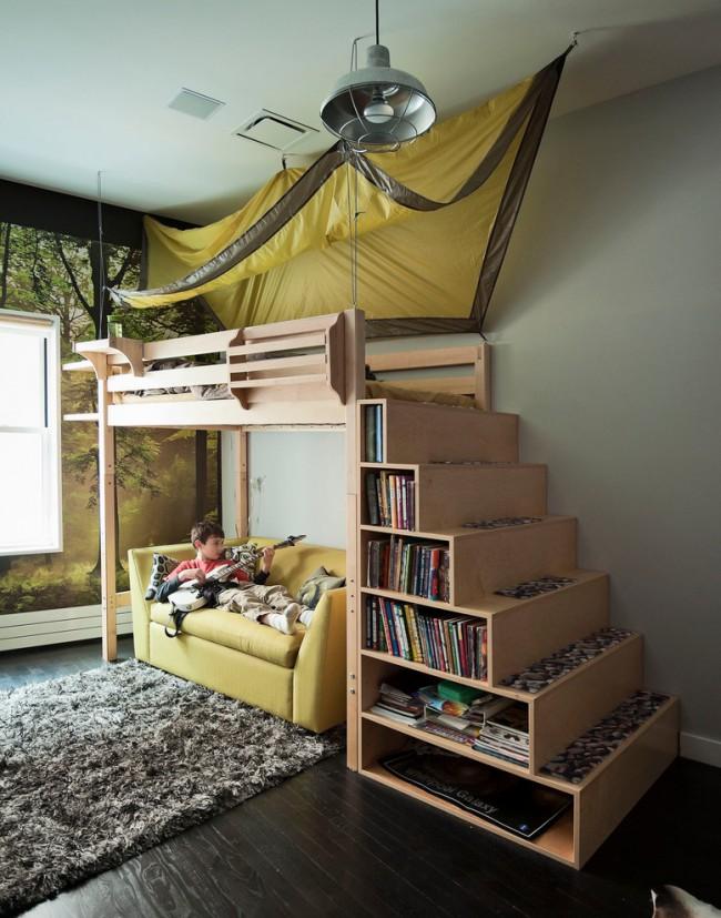 Интерьер комнаты с кроватью чердаком фото