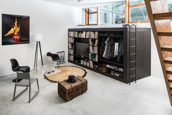 Необычная мебель с зоной отдыха и встроенными шкафами