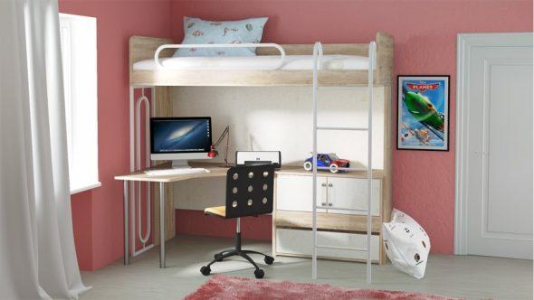 Подростковая кровать-чердак с рабочим столом