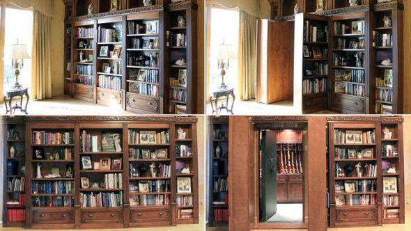 Потайная дверь из библиотеки в оружейную