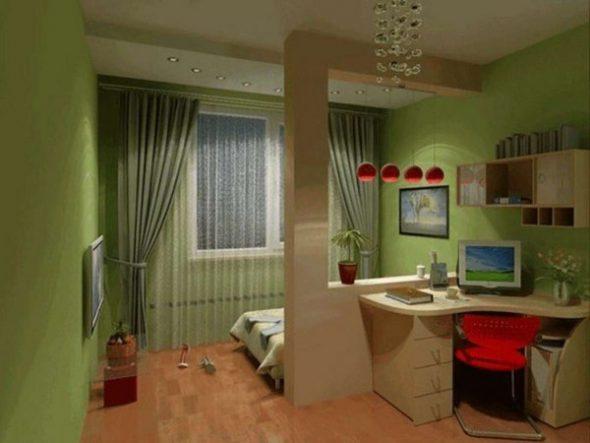Пример отделения рабочей зоны от спальной перегородкой