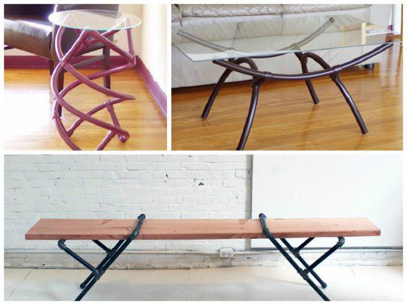 Примеры столиков с каркасами из труб