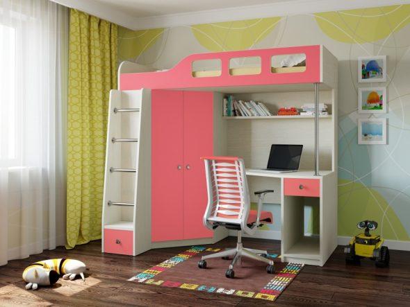 Размещение кровати-чердак в детской комнате для девочки